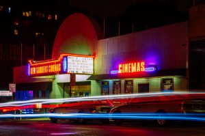 artistic photo of the front of a cinema